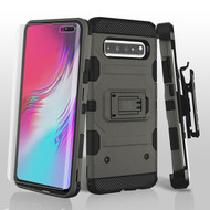 3-IN-1 Military Grade Certified Storm Tank Hybrid Case + Holster + Screen Protector for Samsung Galaxy S10 5G - Grey