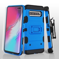 3-IN-1 Military Grade Certified Storm Tank Hybrid Case + Holster + Screen Protector for Samsung Galaxy S10 5G - Blue