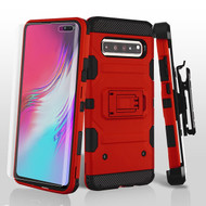 3-IN-1 Military Grade Certified Storm Tank Hybrid Case + Holster + Screen Protector for Samsung Galaxy S10 5G - Red
