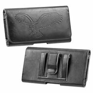 Embossed Eagle Design Premium Horizontal Leather Pouch Case - Black