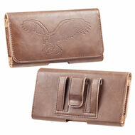 Embossed Eagle Design Premium Horizontal Leather Pouch Case - Brown