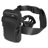 Universal Outdoor Mobile Phone Pouch with Adjustable Waist & Crossbody Strap and Carabiner Clip - Black
