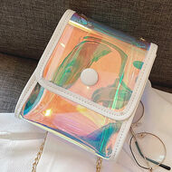 Iridescent Stadium Crossbody Bag - White