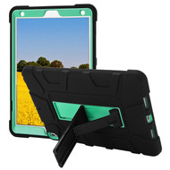 Shock Absorption Heavy Duty Rugged Hybrid Armor Case with Kickstand for iPad Air 3 / iPad Pro 10.5 inch - Black Teal