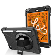 3-IN-1 Hybrid Armor Case with Hand Strap and Rotatable Stand for iPad Mini 5 (5th Generation) - Black