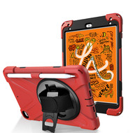 3-IN-1 Hybrid Armor Case with Hand Strap and Rotatable Stand for iPad Mini 5 (5th Generation) - Red