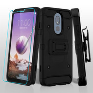 3-IN-1 Kinetic Hybrid Armor Case with Holster and Tempered Glass Screen Protector for LG Stylo 5 - Black