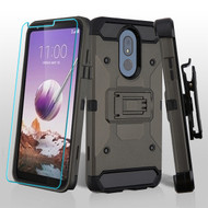 3-IN-1 Kinetic Hybrid Armor Case with Holster and Tempered Glass Screen Protector for LG Stylo 5 - Dark Grey