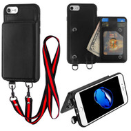 Suspend Wallet Case with Detachable Lanyard for iPhone 8 / 7 - Black