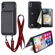 Suspend Wallet Case with Detachable Lanyard for iPhone XS / X - Black