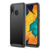 Tough Fusion-X 2-Piece Hybrid Armor Case for Samsung Galaxy A20 - Black