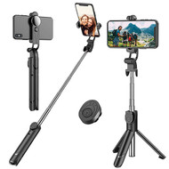 2-IN-1 Selfie Stick Tripod with Wireless Remote Shutter Button - Black