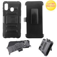 Advanced Armor Hybrid Kickstand Case with Holster Belt Clip for Samsung Galaxy A20 - Black