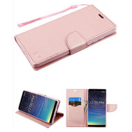 Crossgrain Series Diary Leather Wallet Stand Case for Coolpad Legacy - Rose Gold