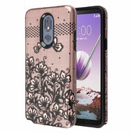 Fuse Slim Armor Hybrid Case for LG Stylo 5 - Lace Flowers Rose Gold