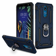 Armor Ring Finger Loop Hybrid Case for LG K40 - Navy Blue