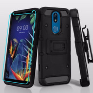 3-IN-1 Kinetic Hybrid Armor Case with Holster and Tempered Glass Screen Protector for LG K40 - Black