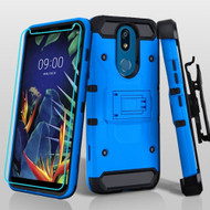 3-IN-1 Kinetic Hybrid Armor Case with Holster and Tempered Glass Screen Protector for LG K40 - Blue