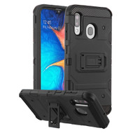 Military Grade Certified Storm Tank Hybrid Armor Case with Stand for Samsung Galaxy A20 - Black