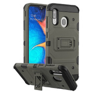 Military Grade Certified Storm Tank Hybrid Armor Case with Stand for Samsung Galaxy A20 - Dark Grey