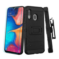 3-IN-1 Military Grade Certified Storm Tank Case + Holster + Tempered Glass Protector for Samsung Galaxy A20 - Black