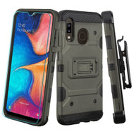 3-IN-1 Military Grade Certified Storm Tank Case + Holster + Tempered Glass Protector for Samsung Galaxy A20 - Dark Grey