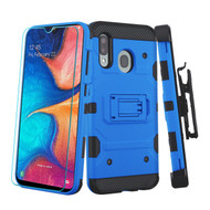 3-IN-1 Military Grade Certified Storm Tank Case + Holster + Tempered Glass Protector for Samsung Galaxy A20 - Blue