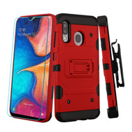 3-IN-1 Military Grade Certified Storm Tank Case + Holster + Tempered Glass Protector for Samsung Galaxy A20 - Red