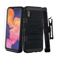 3-IN-1 Military Grade Certified Storm Tank Case + Holster + Tempered Glass Protector for Samsung Galaxy A10e - Black
