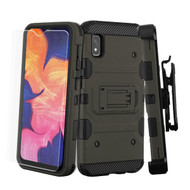 3-IN-1 Military Grade Certified Storm Tank Case + Holster + Tempered Glass Protector for Samsung Galaxy A10e - Dark Grey