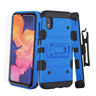 3-IN-1 Military Grade Certified Storm Tank Case + Holster + Tempered Glass Protector for Samsung Galaxy A10e - Blue