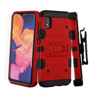 3-IN-1 Military Grade Certified Storm Tank Case + Holster + Tempered Glass Protector for Samsung Galaxy A10e - Red