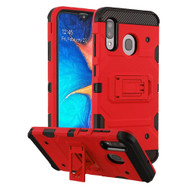 Military Grade Certified Storm Tank Hybrid Armor Case with Stand for Samsung Galaxy A20 - Red