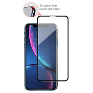 3D Carbon Fiber Full Coverage Soft Edge Tempered Glass Screen Protector for iPhone XR - Black