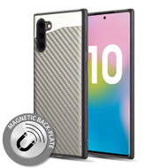 *Sale* Carbon Metallic Luxury Fusion Case with Magnetic Back Plate for Samsung Galaxy Note 10 - Grey