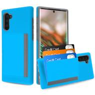 Poket Credit Card Hybrid Armor Case for Samsung Galaxy Note 10 - Blue