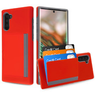 Poket Credit Card Hybrid Armor Case for Samsung Galaxy Note 10 - Red