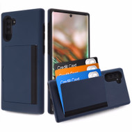 Poket Credit Card Hybrid Armor Case for Samsung Galaxy Note 10 - Navy Blue