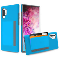 Poket Credit Card Hybrid Armor Case for Samsung Galaxy Note 10 Plus - Blue