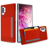 Poket Credit Card Hybrid Armor Case for Samsung Galaxy Note 10 Plus - Red