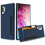 Poket Credit Card Hybrid Armor Case for Samsung Galaxy Note 10 Plus - Navy Blue