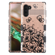 Military Grade Certified TUFF Hybrid Armor Case for Samsung Galaxy Note 10 - Lace Flowers Rose Gold