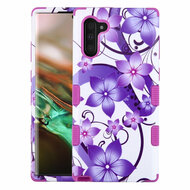 Military Grade Certified TUFF Hybrid Armor Case for Samsung Galaxy Note 10 - Purple Hibiscus Flower Romance