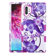 Military Grade Certified TUFF Hybrid Armor Case for Samsung Galaxy Note 10 Plus - Purple Hibiscus Flower Romance