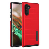 Haptic Dots Texture Anti-Slip Hybrid Armor Case for Samsung Galaxy Note 10 - Red