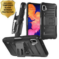 Advanced Armor Hybrid Kickstand Case with Holster and Tempered Glass Screen Protector for Samsung Galaxy A10e - Black