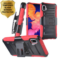 Advanced Armor Hybrid Kickstand Case with Holster and Tempered Glass Screen Protector for Samsung Galaxy A10e - Red
