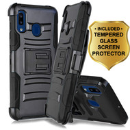 Advanced Armor Hybrid Kickstand Case with Holster and Tempered Glass Screen Protector for Samsung Galaxy A20 - Black