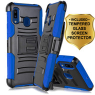 Advanced Armor Hybrid Kickstand Case with Holster and Tempered Glass Screen Protector for Samsung Galaxy A20 - Blue