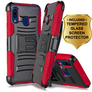 Advanced Armor Hybrid Kickstand Case with Holster and Tempered Glass Screen Protector for Samsung Galaxy A20 - Red